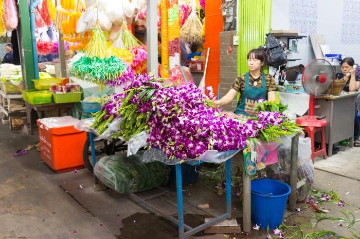 marché aux fleurs Bangkok Thaïlande