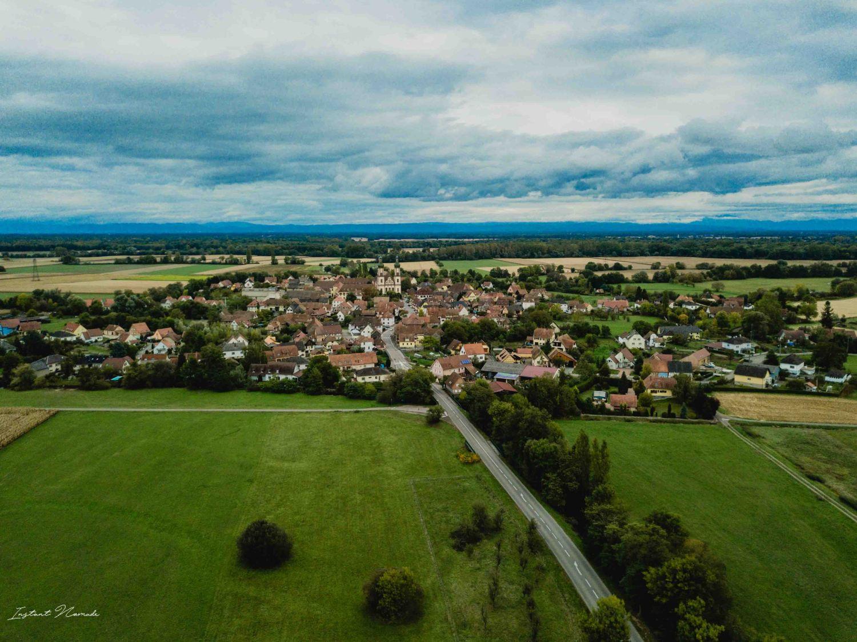 vue plaine alsace photo drône