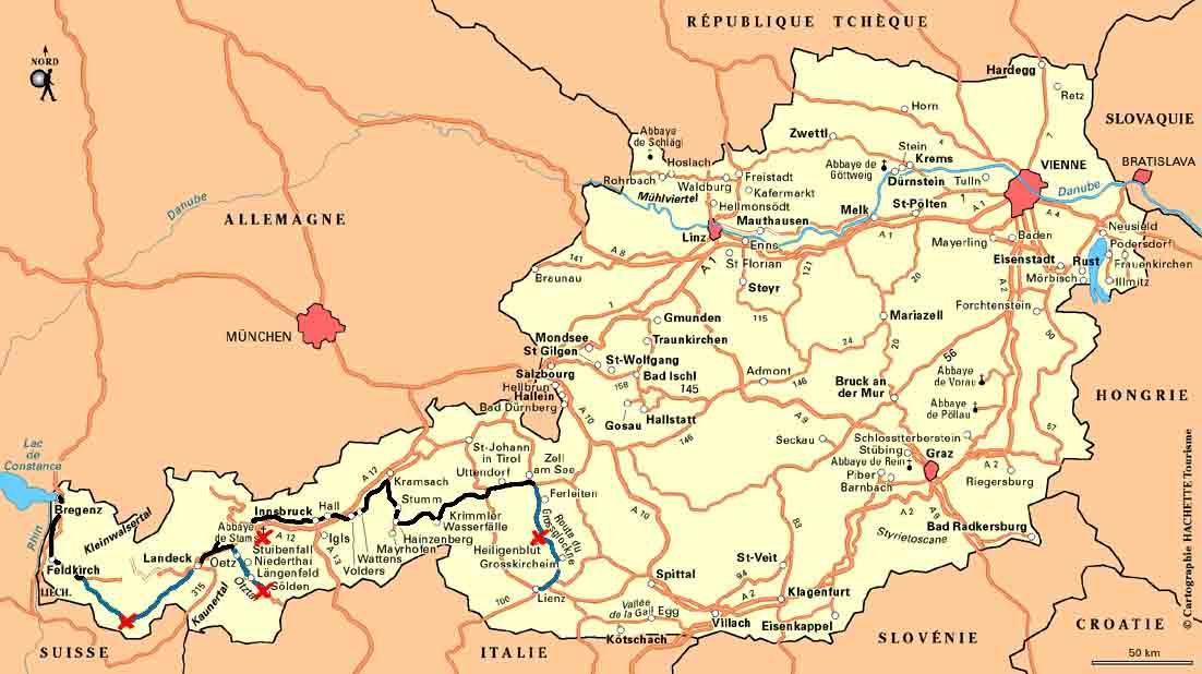 Carte route autriche panorama