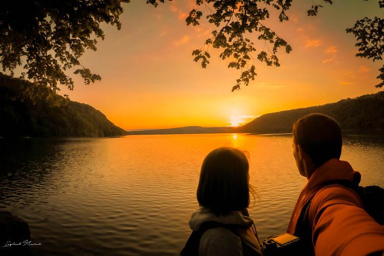 coucher de soleil lac chalain