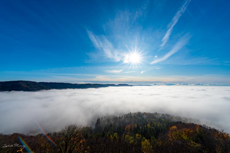 chateau hohenzollern vue mer de nuages