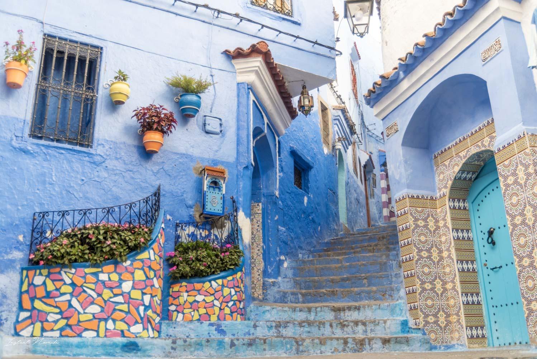 escalier bleu chefchaouen